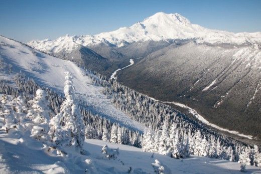 Stock Photo: 1598R-10075714 North America, United States, Washington,  Winter views of frosted trees, White River and Mount Rainier, viewed from Crystal Mountain Ski Resort.