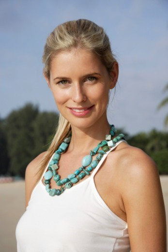Stock Photo: 1598R-10078523 portrait of woman with turquoise necklaces