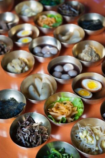 Stock Photo: 1598R-10079366 A variety of Korean dishes including kimchi served in Kaesong, North Korea