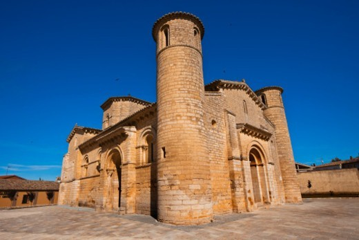 Stock Photo: 1598R-10081026 Saint Martin church. Romanesque style. Fromista. Palencia. Castilla y Leon. Spain. Camino de Santiago (The way of St. James.).