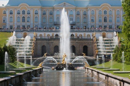 Stock Photo: 1598R-10081313 the beautiful fountains of the Grand Cascade in Peterhof Palace (Peter the Great's Palace) and the Marine canal