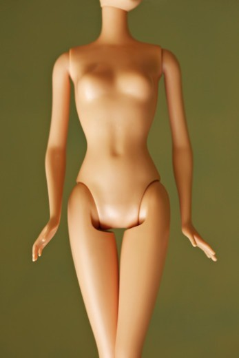 Stock Photo: 1598R-10081472 mid section of fashion doll body