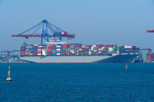Suez Channel, big container ship : Stock Photo
