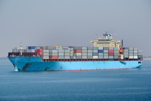 Stock Photo: 1598R-10081475 Suez Channel, big container ship