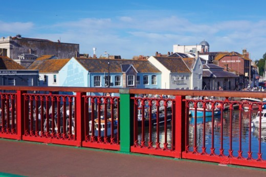 Stock Photo: 1598R-10081758 Weymouth harbour bridge and the River Wey. Weymouth will be the sailing venue for the 2012 Olympic and Paralympic games