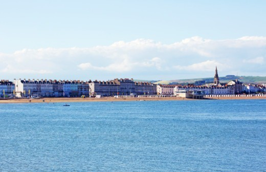 Stock Photo: 1598R-10081759 Skyline of Weymouth harbour at midday. Weymouth will be the sailing venue for the 2012 Olympic and Paralympic games