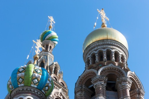 the highly ornate domes of the Church on Spilled Blood : Stock Photo