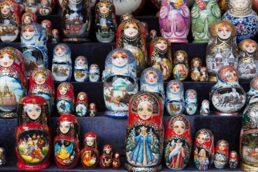 Stock Photo: 1598R-10081965 a group of Russian Dolls for sale to tourists in a craft market near the Church on Spilled Blood