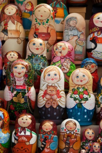 Stock Photo: 1598R-10082138 a group of Russian Dolls for sale to tourists in a craft market near the Church on Spilled Blood