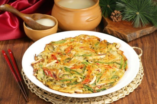 Korean food, Pajeon and Makgeolli : Stock Photo