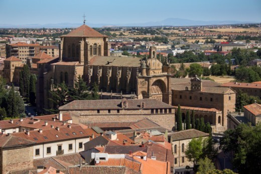 Stock Photo: 1598R-10083318 The 16th century church of Iglesia-Convento de San Esteban and the city of Salamanca in the Castilla-y-Leon region of central Spain.