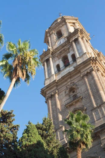 Malaga, Malaga Province, Costa del Sol, Spain.  The tower of the Renaissance cathedral. Full Spanish name is La Santa Iglesia Catedral Basílica de la Encarnación.  It is nicknamed La Manquita. or the one-armed lad because it only has one tower. : Stock Photo