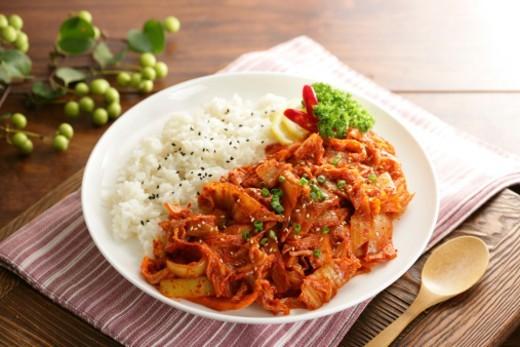 Stock Photo: 1598R-10083535 Korean food, Rice with kimchi
