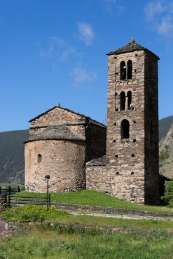 Stock Photo: 1598R-10083610 A small chapel in the autonomous principality of Andorra in the southern Pyrenees, between France and Spain. Andorra is a prosperous country mainly because of its tourism industry, with an estimated 10.2 million visitors per year and also because of its status as a tax haven.