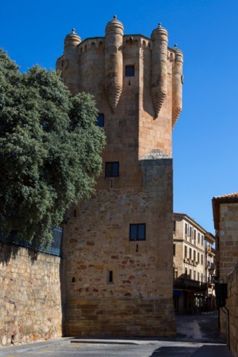Stock Photo: 1598R-10083617 The 15th century Clavero Tower in the city of Salamanca in the Castilla-y-Leon region of central Spain.