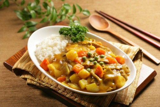 Curry with rice : Stock Photo