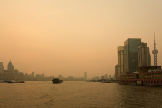 Stock Photo: 1598R-10086257 Evening scene of Huangpu River