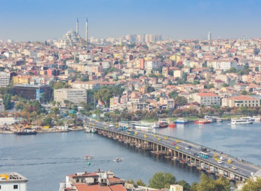 Stock Photo: 1598R-10086571 Istanbul, Turkey.  View from Galata across the Golden Horn and the Ataturk Bridge to the Fatih Mosque.