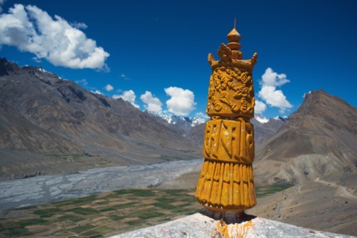 A totem to keep out evil spirits adorn the roof of Ki Monastery : Stock Photo