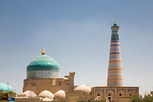 Stock Photo: 1598R-10087549 Pahlavon Mahmud Mausoleum, old silk route town of Khiva, Uzbekistan
