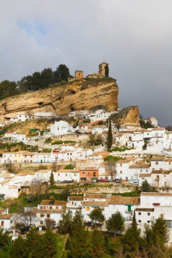 Stock Photo: 1598R-10094066 Montefrio, Granada Province, Andalusia, southern Spain.  Typical whitewashed mountain town. The church, built on old Moorish fortifications, is known as Iglesia de la Villa.