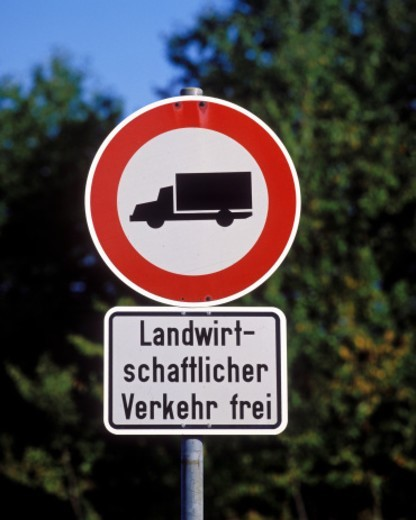 Stock Photo: 1598R-10094475 road sign, prohibition for trucks