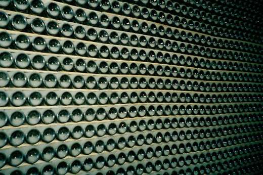 Stock Photo: 1598R-101522 racks of wine bottles