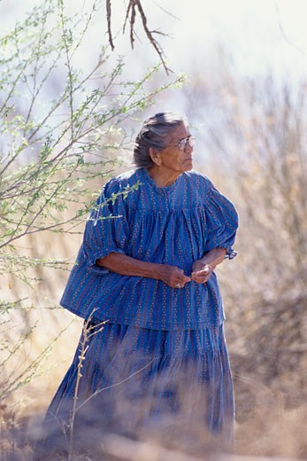 Stock Photo: 1598R-101586 native american senior walking