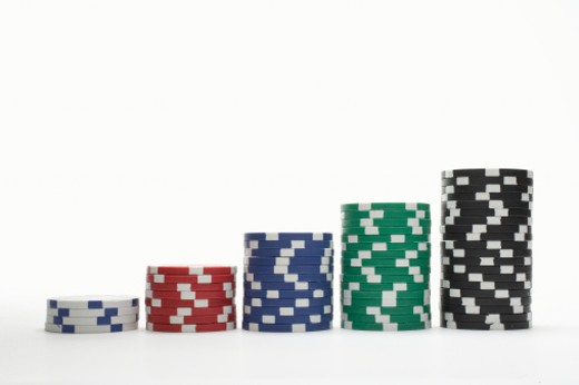 Stacks of gambling chips : Stock Photo