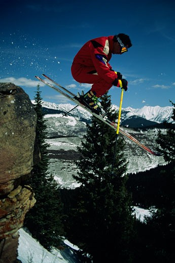 Stock Photo: 1598R-105568 Skier in mid-air, Crested Butte, Colorado, USA