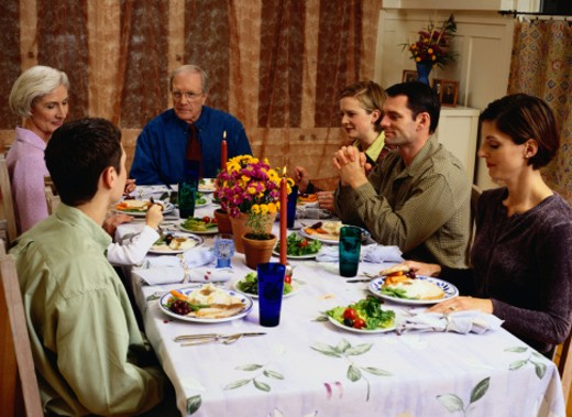 Stock Photo: 1598R-107101 Family Eating a Meal