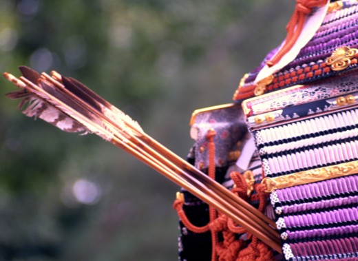 Stock Photo: 1598R-107566 Arrows in a Samurai's Costume