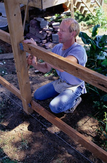 Carpenter Building a Fence : Stock Photo