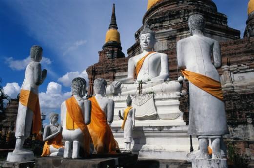 Thailand, Wat Yai Chai Mongkol, religous statues : Stock Photo