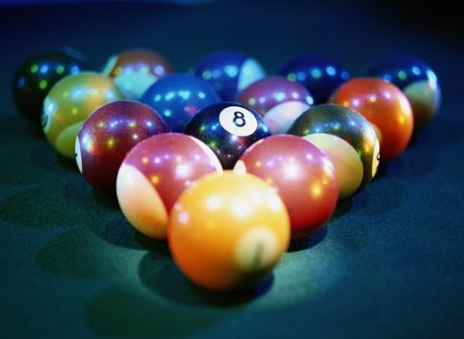 Billiard Balls on a Billiard Table : Stock Photo
