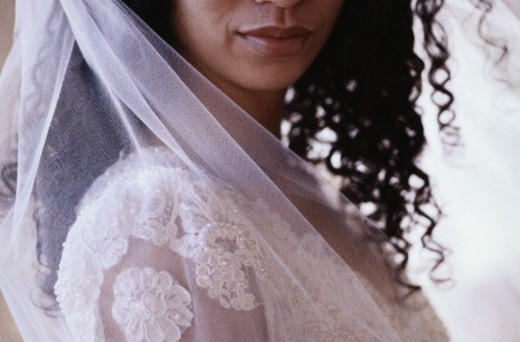 Stock Photo: 1598R-109749 Close-up of a Pensive Bride