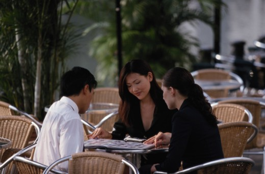 Business Meeting in Cafe, Singapore : Stock Photo