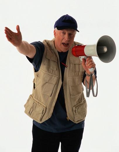 Movie Director Talking Through a Bullhorn : Stock Photo