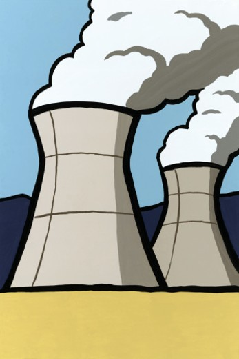 Cooling towers in nuclear power plant : Stock Photo