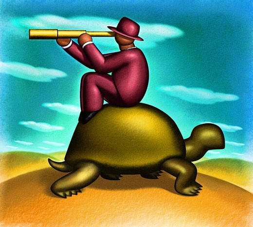 Man Riding Turtle : Stock Photo