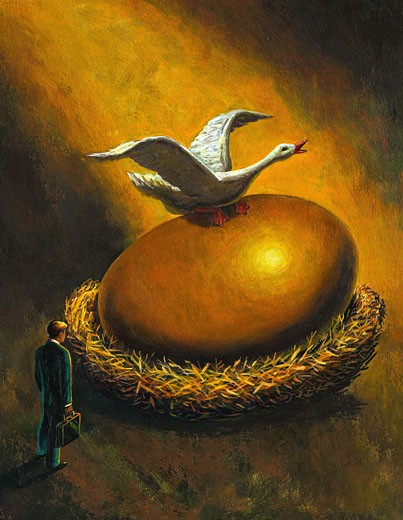 Stock Photo: 1598R-117047 Goose that Laid the Golden Egg
