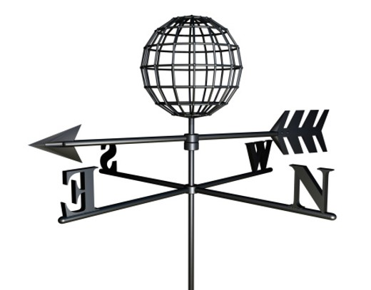 Stock Photo: 1598R-117163 Weather Vane with a Globe on Top