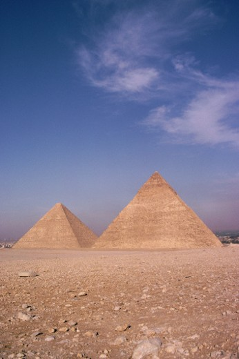 Stock Photo: 1598R-117809 Two Giza pyramids