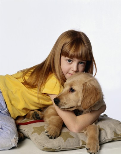 Stock Photo: 1598R-120494 Girl with Dog