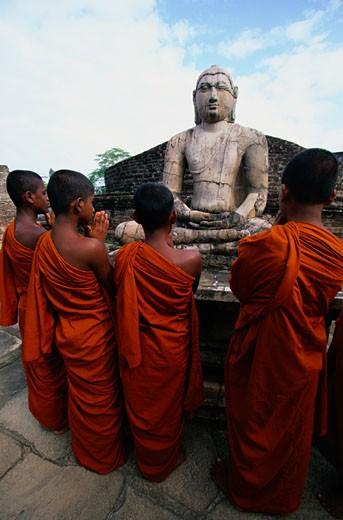 Praying Monks in Sri Lanka : Stock Photo