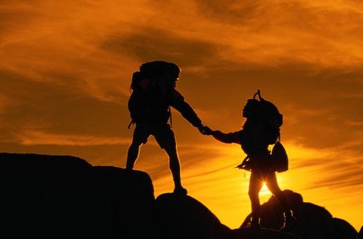 Stock Photo: 1598R-126299 Hiking Silhouette