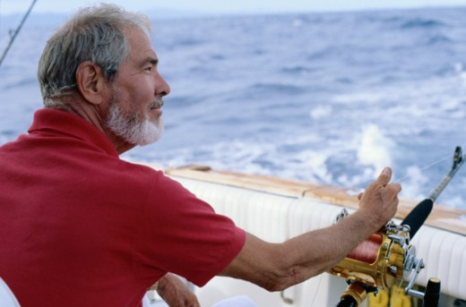 Man Deep Sea Fishing : Stock Photo