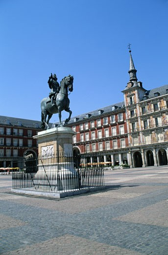 Plaza Mayor with Statue of Felipe III : Stock Photo