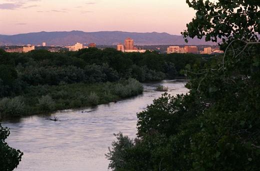 Rio Grande and Albuquerque : Stock Photo