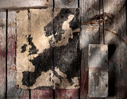 Old Paper Map of Europe : Stock Photo